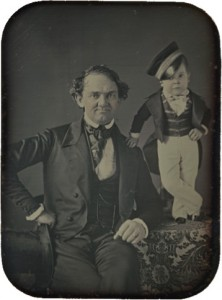 "P.T. Barnum with his ""protege"" General Tom Thumb"