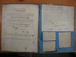 Inside Jean Davenport's scrapbook. The playbill on the left is in Spanish. Courtesy of the Library of Congress.