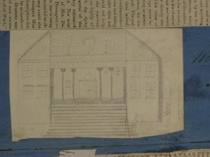 This drawing of the New Theatre in Kingston, Jamaica appeared in Jean Davenport's scrapbook. Courtesy of the Library of Congress
