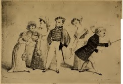 Louisa Lane, age eight, playing the five characters from Twelve Precisely, 1838