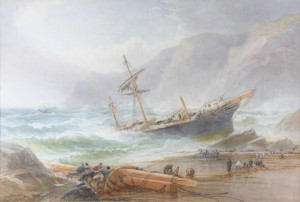 Painting of a shipwreck by the British artist Thomas Hart (1830-1916), similar to that described by Louisa Lane